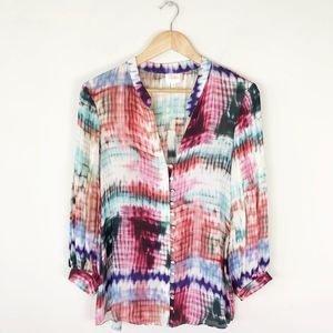 Parker 100% Silk Watercolor Print Pleated Blouse
